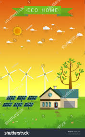 eco friendly home poster banner eco friendly home solar stock vector 453353221