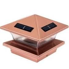 maine ornamental copper plastic and wood solar post cap light