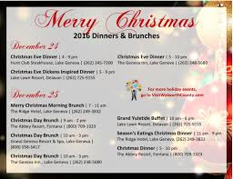 celebrate christmas with a dinner or brunch in the lake geneva area
