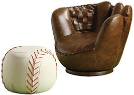baseball chair and ottoman set amazon com crown mark baseball glove chair ottoman kitchen dining