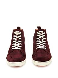 christian louboutin rantinos high top suede trainers in purple for