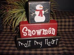 snowmen melt my heart wood sign shelf blocks primitive country