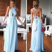 cheap simple convertible blue long bridesmaid dresses for summer