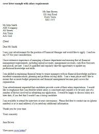Salary Expectations Cover Letter cover letter with salary requirement new salary requirements in