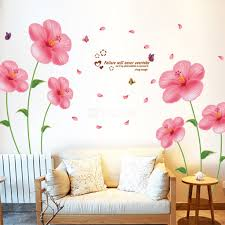 bedroom wall stickers pink flower wall stickers living room bedroom wall art decals