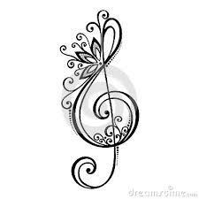 vector floral decorative treble clef tattoo pinterest treble