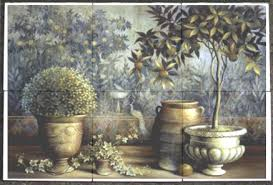 Ceramic Tile Mural Backsplash by Garden Scene Ceramic Kitchen Back Splash Tile Mural