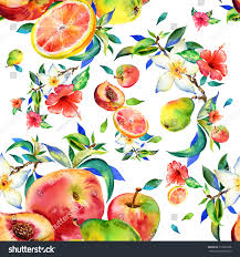 flowers and fruits watercolor seamless pattern flowers fruits pear stock illustration