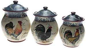 rooster canisters kitchen products amazon com certified international lille rooster 3 cannister