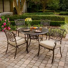 Outdoor Patio Table And Chairs Shop Hanover Outdoor Furniture Traditions 5 Bronze Metal