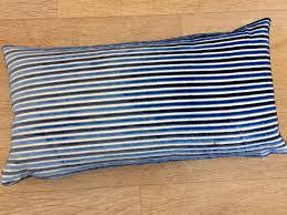 Navy Velvet Cushion Mid Blue Navy Blue White Stripe Pillow Two Tone Blue Velvet