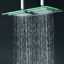 bathroom stainless shower has two water holes of glass head