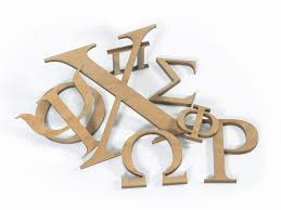small greek wood letters stained alder wood woodland manufacturing