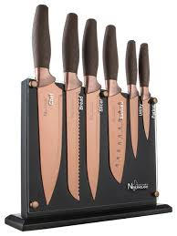 kitchen knive set 7 titanium coated knife block set contemporary knife