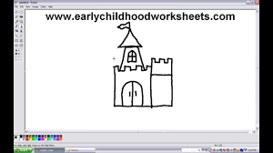 how to draw a castle easy step by step for kids youtube