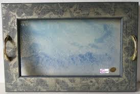cornici con vetro vassoio vetro decorato graniglia con cornice legno lachipper