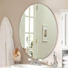 Frameless Bathroom Mirror D U0026 233 Cor Wonderland Odelia Oval Bevel Frameless Wall Mirror