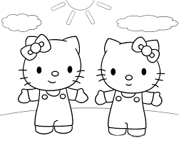 twin hello kitty coloring page cute pages of kidscoloringpage