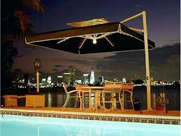 offset patio umbrella with led lights led patio umbrella 11 ft offset in sunbrella sand solar powered