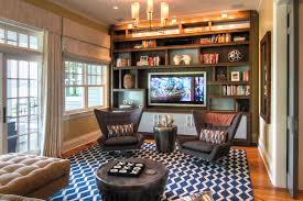 Lighting For Bookshelves by Interior Spacious Small Basement Media Room Lighting With Wooden