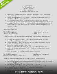 Resume Samples Receptionist by Cover Letter Examples For Entry Level Medical Receptionist