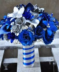 royal blue and silver wedding royal blue brides bouquet complete wedding flower package with
