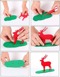 party ornament red felt fabric deer stand christmas decorations
