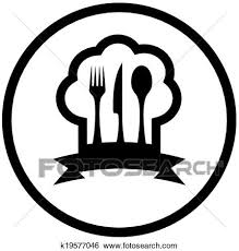 icone cuisine clipart nourriture icône à chapeau chef et ustensile