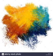 colorful paint splash on watercolor paper background stock photo