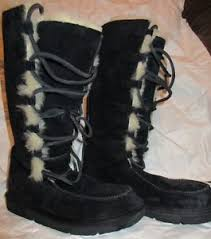 s boots lace ugg black suede sheepskin tularosa uptown boots lace up boots sz