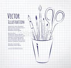 brushes pen pencils and scissors in holder vector art thinkstock