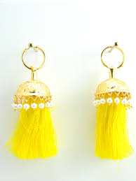 jhumka earrings flamingo jhumka earrings with yellow threads