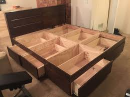 Woodworking Projects Platform Bed by Creative Ideas How To Build A Farmhouse Storage Bed With Drawers