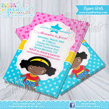 Princess Themed Birthday Invitation Cards Wonder Woman Invitations African American Birthday Party