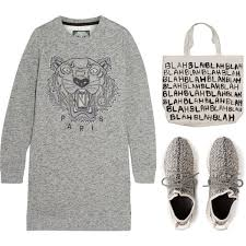 kenzo tiger embroidered cotton sweatshirt mini dress polyvore