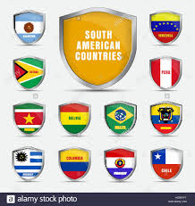 South America Flags Set Of Metal Shields With Flags And The Name Of The South American