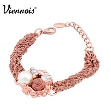 rose gold color bracelet images Viennois brand new flower simulated pearls charm bracelet rose jpeg