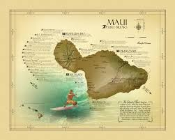 Dma Map Maui Surf Break Map Vintage Inspired 11 X 14 Hawaiian Art