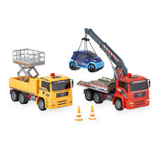 fast lane 2 pack pump action worker with crane truck toys