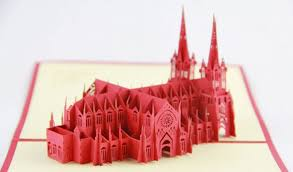st cathedral building 3d card pop up card new york