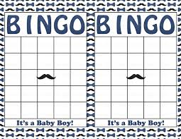 blank baby shower bingo cards mustache theme printable