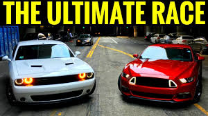 mustang vs dodge challenger mustang gt 5 0 vs dodge challenger rt 5 7l race