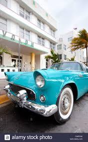 classic car at ocean drive in art deco district miami florida