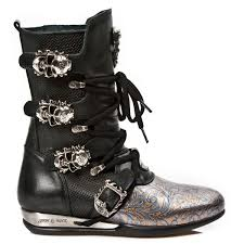 black leather motorcycle boots black leather blue u0026 gold leather hybrid boots w skull buckles