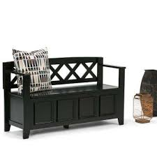 Black Storage Bench Simpli Home Bench Entryway Furniture Furniture The Home Depot