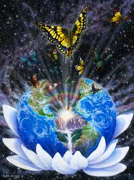 earth in lotus with butterflies heaven on earth
