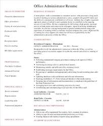 Admin Resume Samples by Administration Resume Samples 29 Free Word Pdf Documents