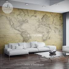 vintage map wall mural self adhesive photo mural artbedding vintage world map from 1814 wall mural self adhesive peel stick photo mural