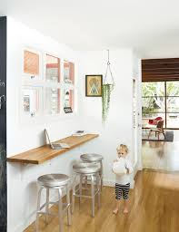 Breakfast Bar Table And Stools Small Space Solution For An Eat In Kitchen Wall Mounted Oak Bar