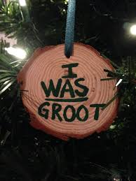 wooden i was groot log slice ornament